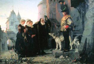 Polenkov Le droit de seigneur 1879 Lijfeigene bruid biedt zichzelf aan voor de eerste nacht aan haar landheer