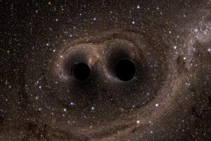 Simulatie van twee om elkaar draaiende en tenslotte botsende zwarte gaten. Je ziet ze alleen door de afbuiging van het licht van achterliggende sterren.